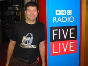 At BBC centre for one of many appearances on Radio 5Live